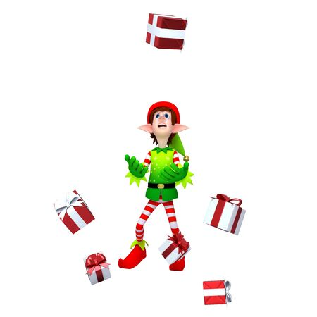 Elves with Gift box Stock Photo - 11570965