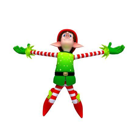 Happy jump of xmas elves Stock Photo - 11570962