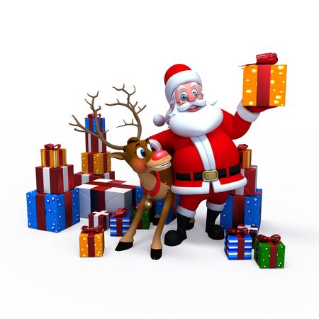 santa suit: Santa Claus with his naughty reindeer