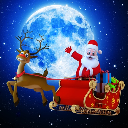An illustration of santa with his sleigh illustration