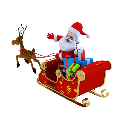 sleds: Santa with his sleigh