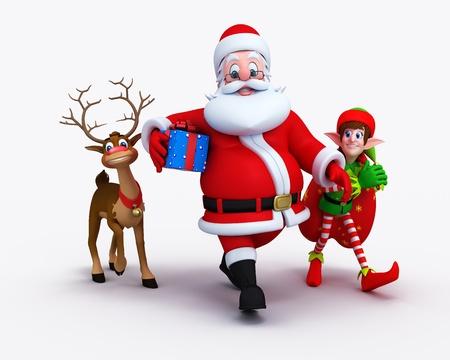 Santa is walking with naughty reindeer and Elves. Stock Photo - 11570972