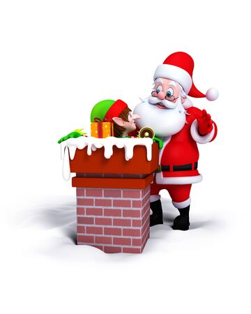 Santa Claus with Elves in chimney isolated on white background. photo