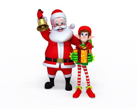 Illustration of Santa Claus with Elves. Stock Illustration - 11570978