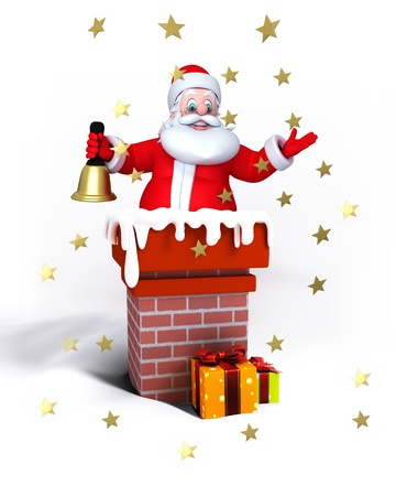 Illustration of Santa Claus in chimney isolated with white. illustration