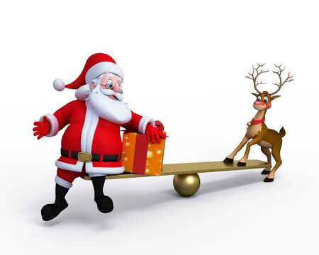 Santa Claus with Reindeer playing on the seesaw. photo