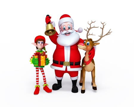 Illustration of Santa Claus with Elves and reindeer