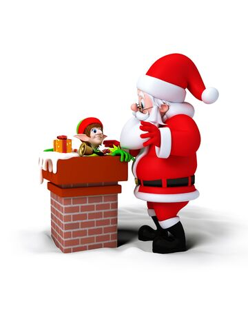 Santa Claus with Elves in chimney isolated on white background. Stock Photo - 11570984