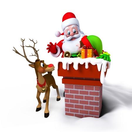 duendes de navidad: Santa Claus con los Elfos en la chimenea aislada sobre fondo blanco con los renos. Foto de archivo