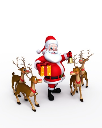 Happy Santa with naughty reindeer Stock Photo - 11570983