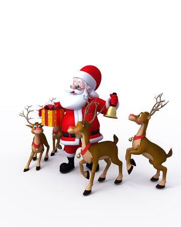 Happy Santa with naughty reindeer Stock Photo