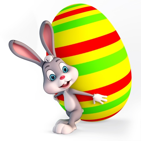 3d rendered illustration of a cute easter bunny carrying big egg illustration