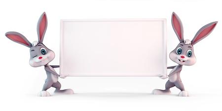 lapin blanc: 3d a rendu l'illustration d'un lapin mignon de P�ques avec panneau blanc Banque d'images