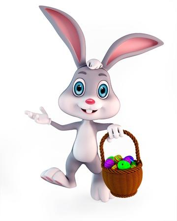 lapin sur fond blanc: 3d illustration rendu d'un lapin mignon de Pâques portant un panier avec des oeufs colorés Banque d'images