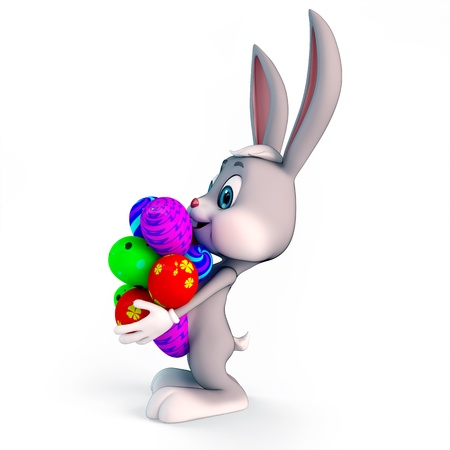 bunnies: cute easter bunny with colorful eggs
