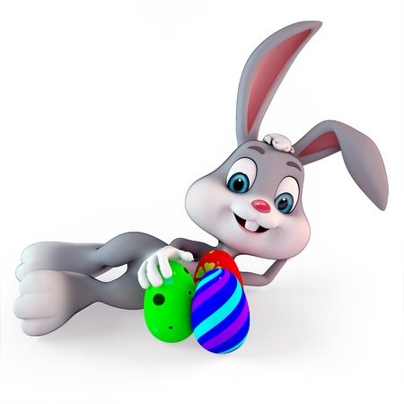 cute easter bunny with colorful eggs photo