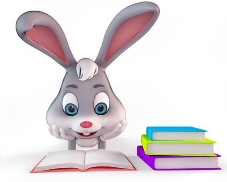 cute bunny reading the books photo
