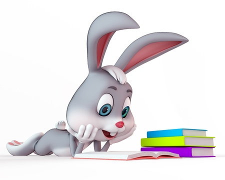 chocolate egg: cute bunny reading the books