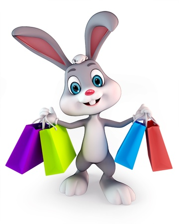cute Easter bunny with shopping bags Stock Photo - 13577256