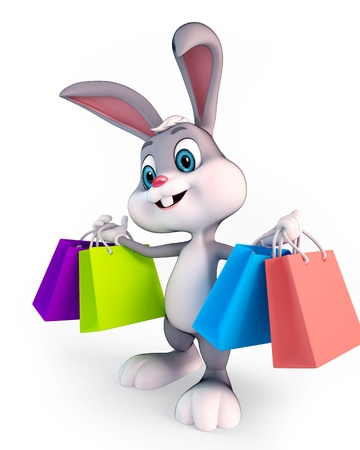 holiday shopping: cute Easter bunny with shopping bags