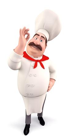 chef caricatura: Chef divertido con la mejor de las suertes Foto de archivo