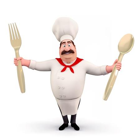 happy chef: Happy chef with spoons Stock Photo
