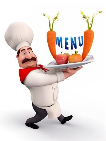 culinair: Chef-kok met menu-kaart Stockfoto