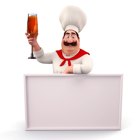 Happy chef with sign and wine glass photo