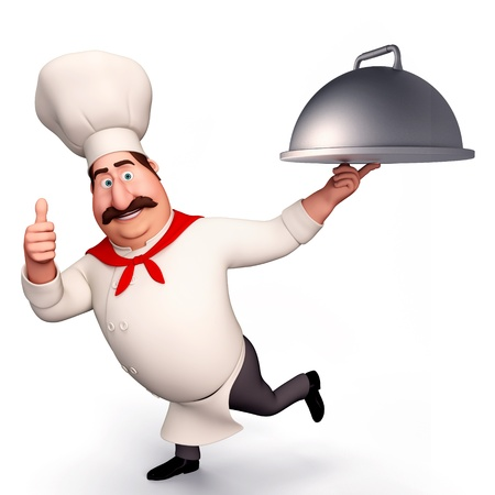 CHEF RUNNING WITH POT photo
