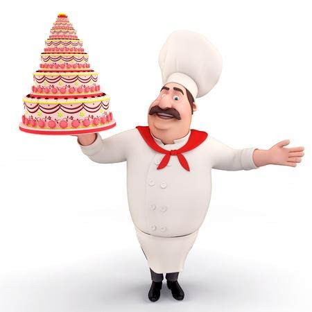 Chef holding cake photo