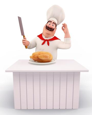 chef cocinando: Chef de cocina de pollo