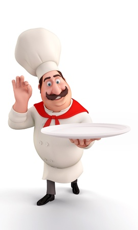 chef holding noodles plate photo