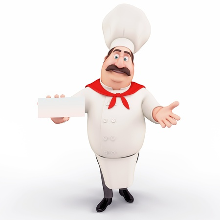 Happy chef with v card Stock Photo - 13577428