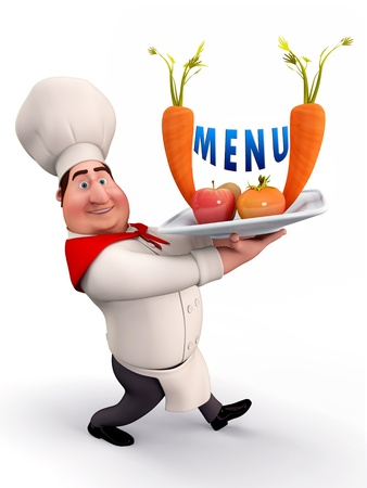 cartoon work: Chef with menu card