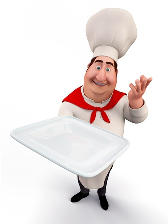 Chef holding a tray photo