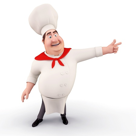 man pointing: Chef pointing towards blank Stock Photo