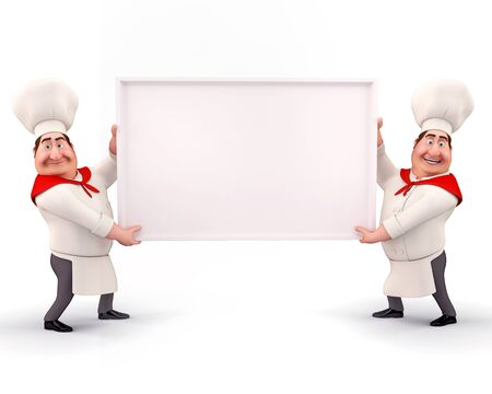 Happy chef holding sign photo