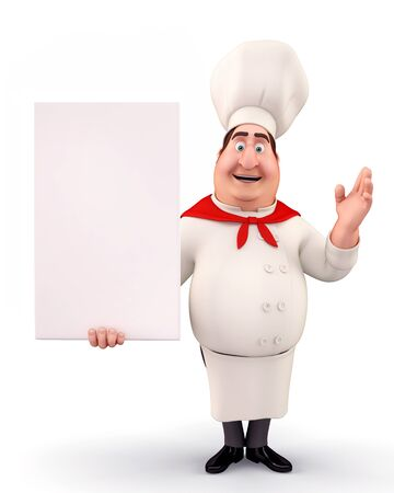Happy chef with sign photo