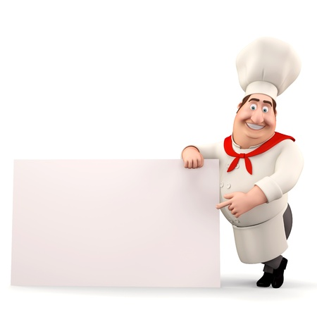 Happy chef pointing towards sign photo