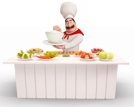 chef cocinando: Chef de cocina con una gran cantidad de vegetales