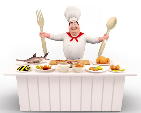 Happy Chef standing with spoons photo