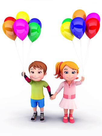 Happy kids with balloons photo