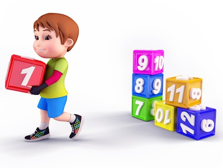 Smiling cute boy with blocks photo