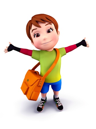 Cute boy with school bag photo