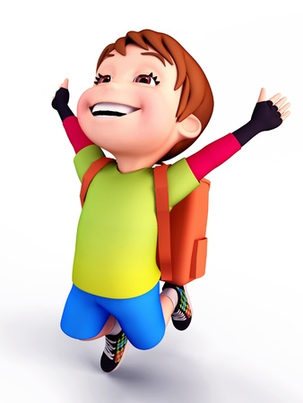 Cute boy flying with school bag photo