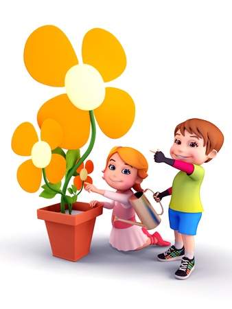 Kids with flowers and water spray photo