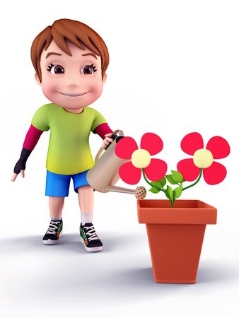 Boy with flowers and water spray photo
