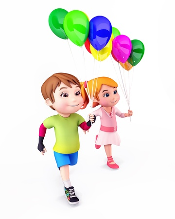 Kids with balloons photo
