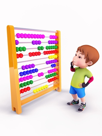 Cute boy observing abacus machine photo