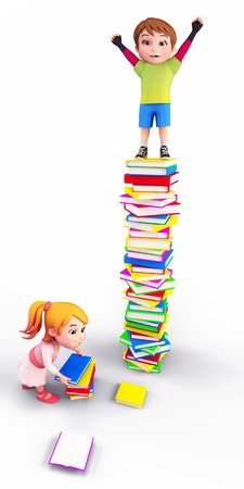 educational: Kids playing with books Stock Photo